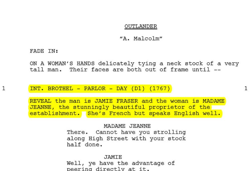Extrait du scénario de l'épisode A. Malcolm