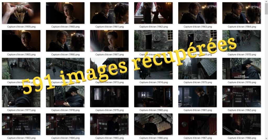 pres de 600 images d'Outlander récupérées depuis la vidéo de l'épisode