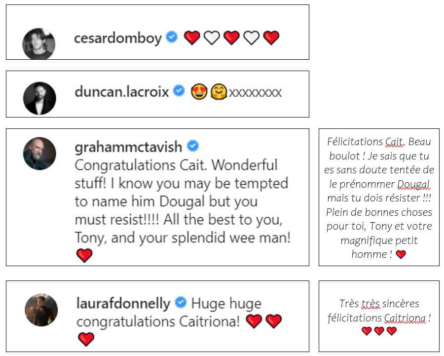 acteurs-Outlander-félicitations-Caitriona-Balfe-pour-son-bébé